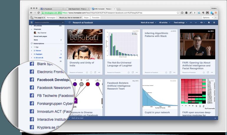 Med Inoreader är det möjligt att flytta in omvärldsbevakning på Facebook och Twitter i RSS-läsaren.